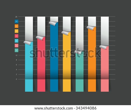 Column Flat chart, graph. Isolated on black color. Infographics elements. - stock vector
