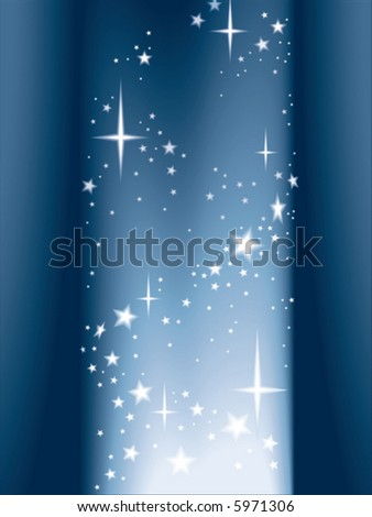 Column of light and shining stars, vector