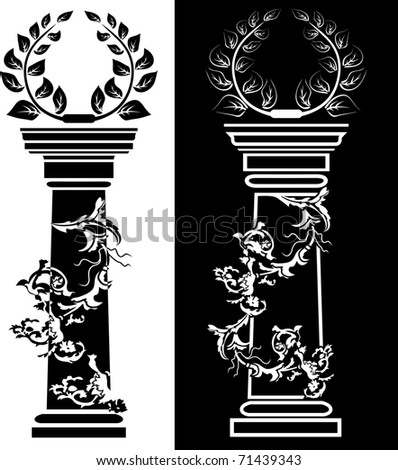 Column with a laurel wreath the concept a victory - stock vector