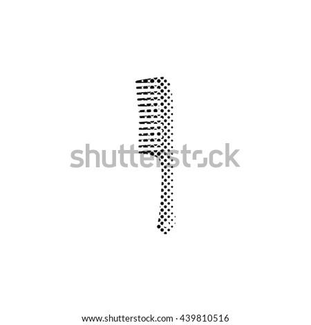 Comb - black vector icon;  halftone illustration - stock vector