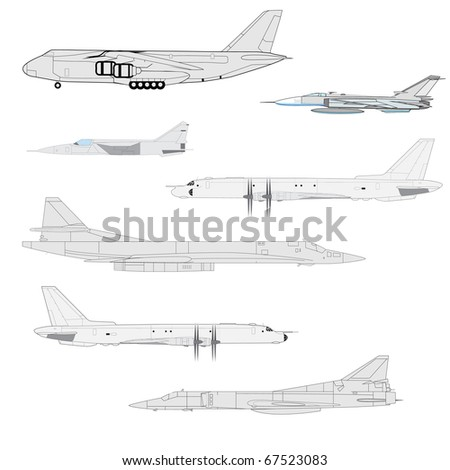 Combat aircraft. Team. Colored vector illustration for designers - stock vector