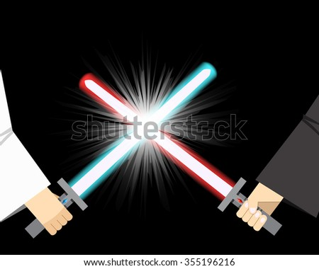 Combat of light sword with spark effect - stock vector