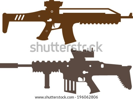 Combat Rifles Vector - stock vector