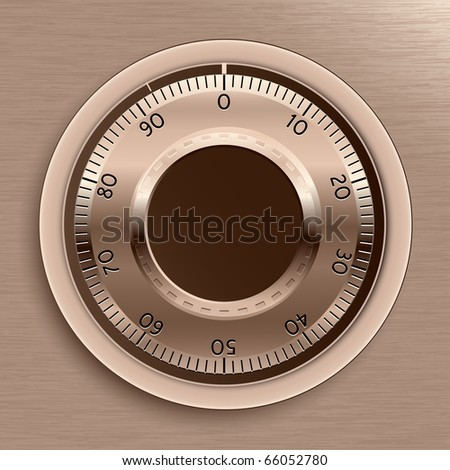 Combination Lock. Brown Toned Combination Lock. Vector Illustration.