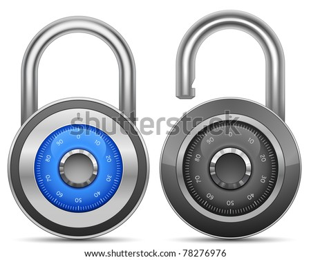 Combination Lock Collection. Security Concept. Vector illustration of padlock