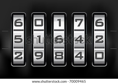Combination lock - number code. Vector file. - stock vector