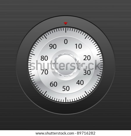 Combination lock on black background. Vector illustration.