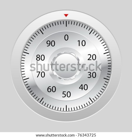 Combination lock on grey background. Vector illustration.