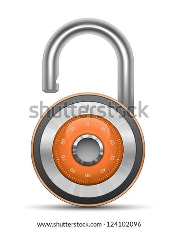 Combination Lock - Security Concept. Vector illustration of padlock - stock vector