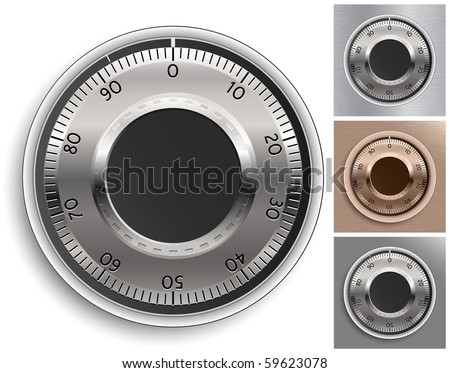 Combination Lock Set.Combination Safe Lock Set. Vector Illustration.
