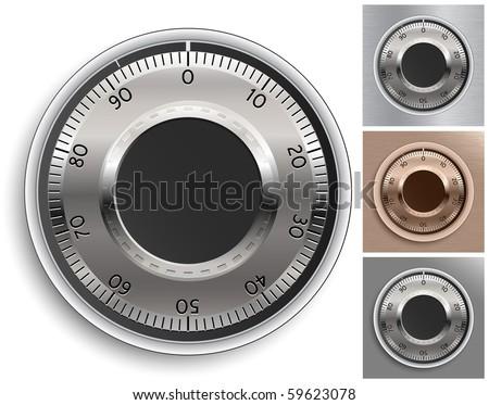 Combination Lock Set.Combination Safe Lock Set. Vector Illustration. - stock vector