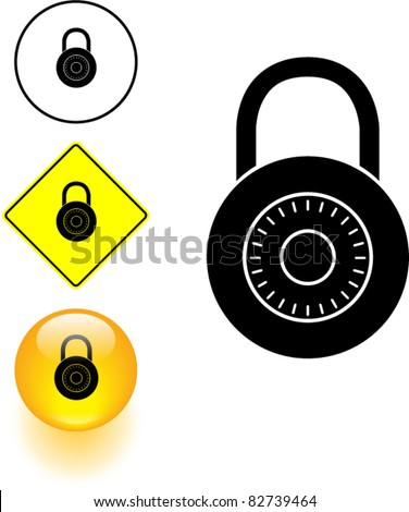 combination lock symbol sign and button - stock vector