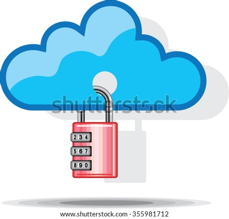 Combination lock to Cloud Networking - stock vector
