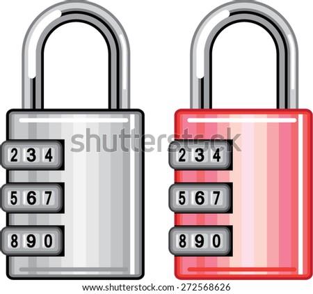 Combination lock vector - stock vector