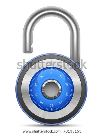 Combination Lock. Vector illustration of padlock - stock vector