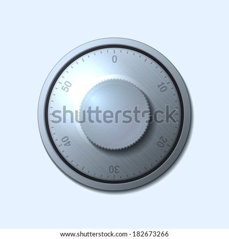 Combination lock wheel on light background. Vector