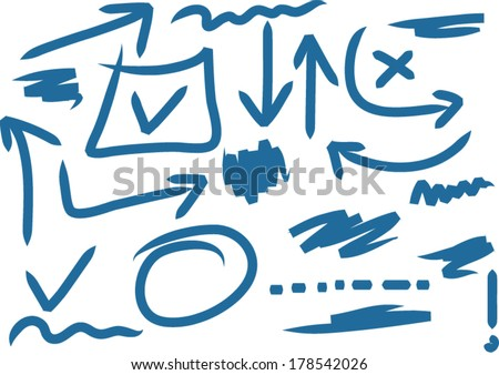 combination of hand drawn highlighter educational symbols - color can be changed by one click - stock vector