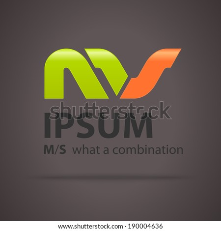 Combination of Letters M and S. Abstract Vector Design Template. Creative Concept Icon - stock vector
