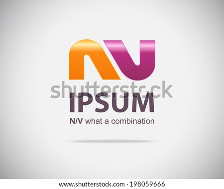 Combination of Letters N and V. Abstract Emblem Design Template. Creative Concept Icon - stock vector