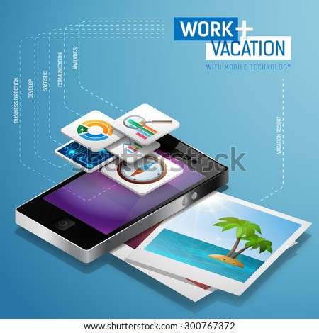 Combination of travel, vacation and work as freelancer with mobile technology isometric concept template. Vector illustration. Smartphone with applications and photo of heavenly tropic island beach. - stock vector