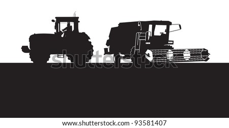 combine and a tractor silhouette - stock vector