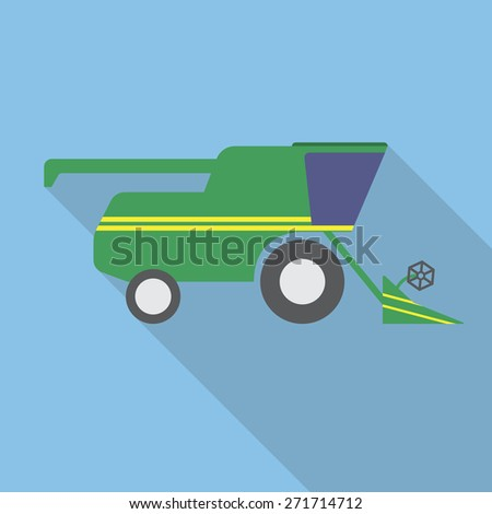 Combine harvester flat,simple style icon with long shadow. Vector illustration EPS10 - stock vector