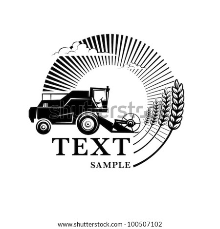 Combine harvester on a wheat field against sun. Engraving style - stock vector