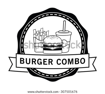 Combo package Burger, french fries & soft drink badge - stock vector