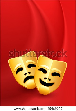 Comedy and Tragedy Masks on Red Wave Background Original Vector Illustration