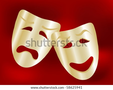 Comedy and tragedy theatre masks - vector illustration - stock vector
