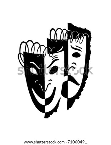 Comedy Drama Masks - Retro Ad Art Illustration - stock vector