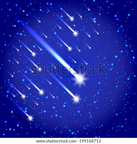 Comet and stars shooting background - stock vector