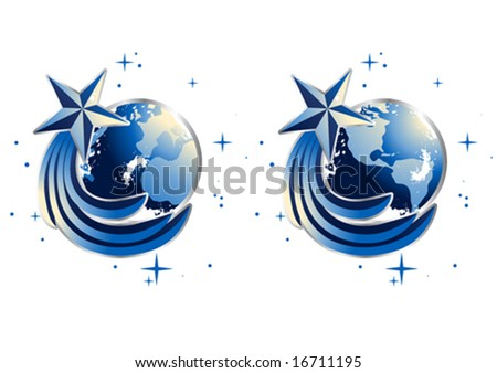 Comet circling Earth (Christmas clip-art) - stock vector