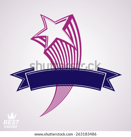 Comet, 3d flying star with decorative ribbon. Military stylized icon. Vector festive classic graphic design element. - stock vector