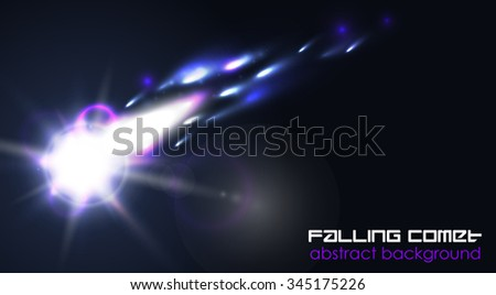 Comet or meteor glow abstract background. Bright flash in space. - stock vector