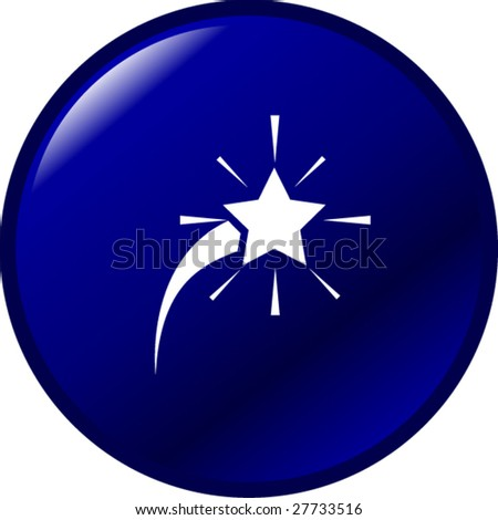 comet star button - stock vector