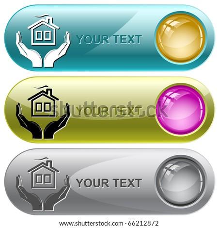 comfort in hands. Vector internet buttons. - stock vector