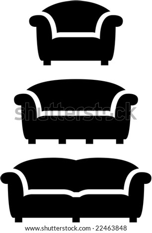 comfortable black furniture icon set - stock vector