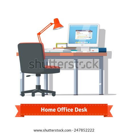 Comfortable home workplace with turned on desktop on the desk, wheelchair, lamp and some books. Flat style illustration or icon. EPS 10 vector. - stock vector