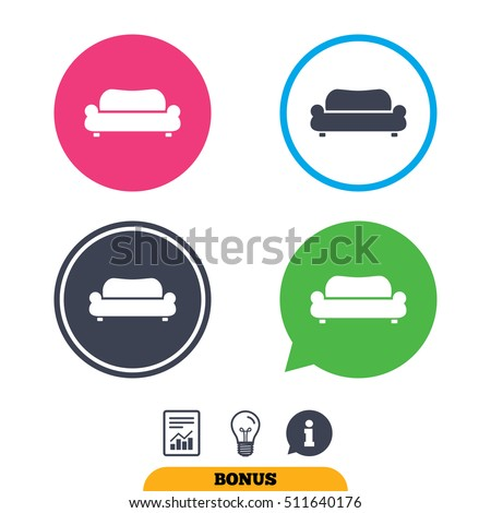 Modern Furniture Icon comfortable sofa sign icon modern couch stock vector 216326104