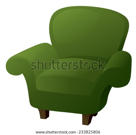 Comfy green armchair in traditional style. - stock vector