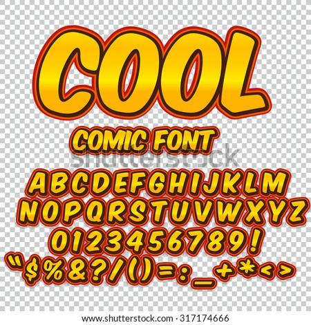 Comic alphabet set. Gold color version. Letters, numbers and figures for kids' illustrations, websites, comics, banners. - stock vector