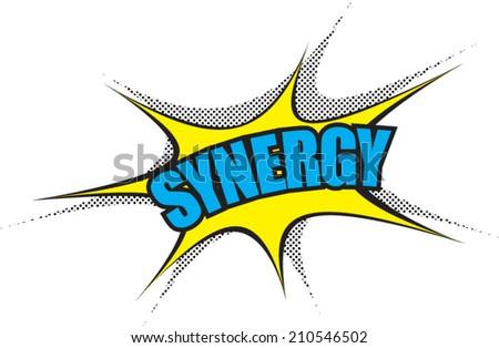 Comic Balloon Power Word: Synergy - stock vector