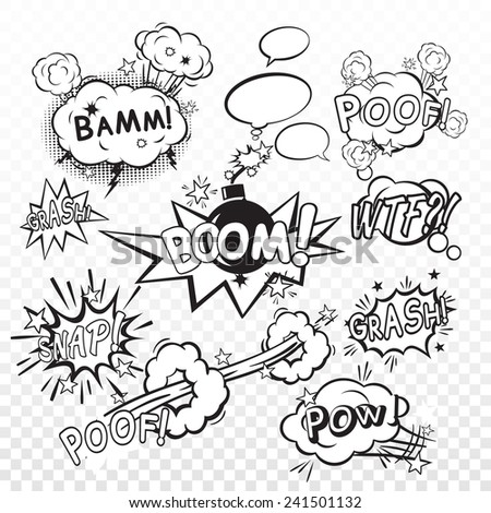 Comic black speech bubbles in pop art style with bomb cartoon explosion snap boom poof text set vector illustration - stock vector