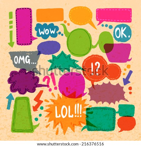 Comic blank text speech bubbles icons set on paper background vector illustration - stock vector