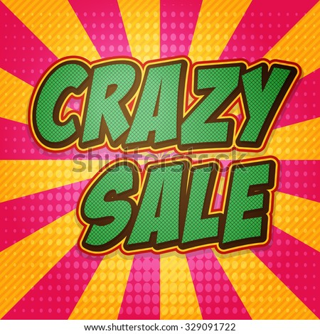 Comic book banner explosion with text Crazy Sale. Design for your banner flyer pop art discount promotion.