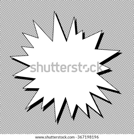 Comic book black and white speech bubble with dots Explosion vector illustration Square fight stamp for card Manga or anime radial graphic texture Sun ray or star burst background