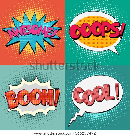 Comic Book Bubble Text set on a dots pattern background in Pop-Art  Retro Style - stock vector
