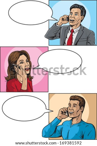 Comic book callers - stock vector