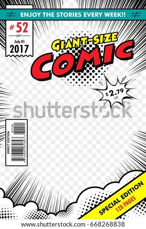 comic book cover giant size transparent stock vector 668268838 shutterstock. Black Bedroom Furniture Sets. Home Design Ideas